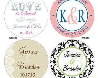 72 - 3 inch Custom Glossy Waterproof Wedding Stickers Labels - hundreds of designs to choose from - change designs to any color or wording