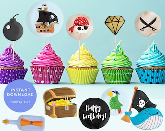 Pirate cupcake toppers, Printable Pirate labels, Pirate theme cupcake toppers, Pirate party labels, Pool party labels Pirate birthday party