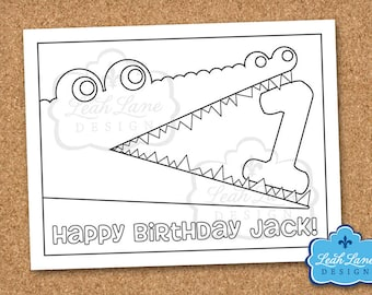 Alligator, Crocodile, Swamp, Kids Birthday Party, Personalized Printable Coloring Sheet, Coloring Page, Party Favor, Printable Party Game