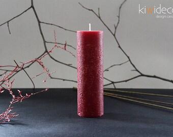 """Handmade Rustic Pillar Candle Dark Red 45 x 150 mm (1.77 x 5.90"""") Scandinavian design home decor"""