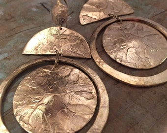 Huge gold earrings, gold plated bronze, made in France, handcrafted.