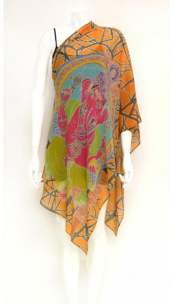 Pink Ganesha art to wear womens silk scarf orange background