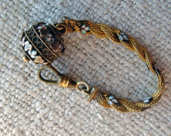 Antique Etruscan Watch Fob Ball Bead Short Braided Chain Hook Enamel Accents W&SB Star