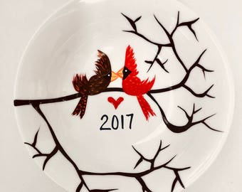 2017 Love Birds Ring Dish, Jewelry Dish, Jewelry Holder, Engagement Gift, Our First Christmas