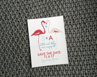 Flamingo save the date - 30 postcards