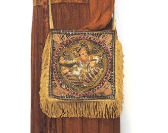 Gypsy purse bag, Hippie bag, Tribal bag, Festival bag, Shoulder bag, upcycled bag, Vintage beaded asian print, Teens purse, Gifts for her