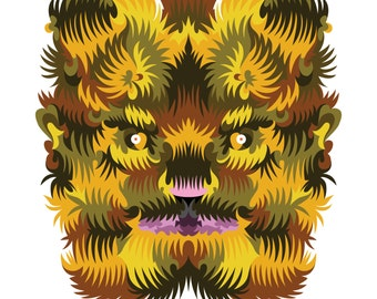 Werewolf. Cross Stitch pattern, Digital Download PDF. Geometric design of a werewolf or dog man. Bright colorful and modern in design.