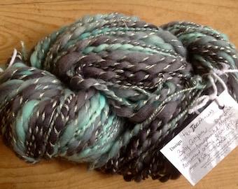 The Ice Princess - 3 ply handspun artyarn - mega skein of 11.5 oz & 220 yards - handpainted merino lambswool mercerized cotton silver thread