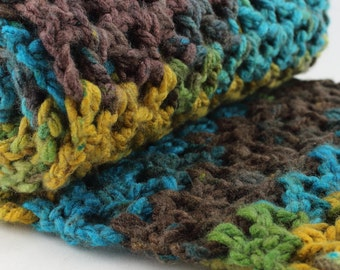 Turquoise & Brown Scarf, Chunky Oversized Infinity Scarf, Mulitcolor Crochet Snood, Fall Gift for Her, Winter fashion, Neckwarmer