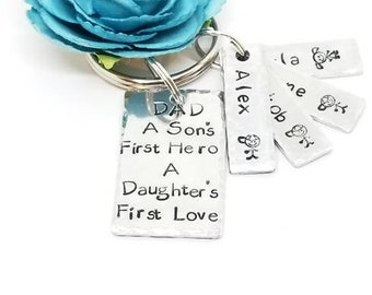 Father's day keychain, Gift for Dad, Keepsakes, Custom Keychain, Personalized, Metal Stamped Gift, Hand Stamped Keychain, Gift Under 20
