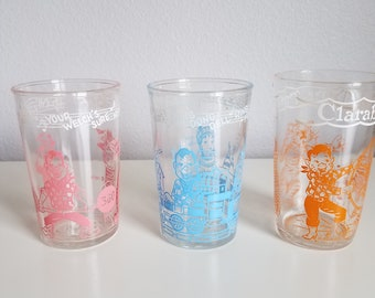 1950's Howdy Doody Welches Jelly Glasses Set of 3 Mid Century/Retro Kitchen