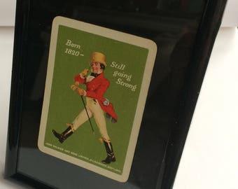 Framed Johnnie Walker Whisky Vintage Playing Card.