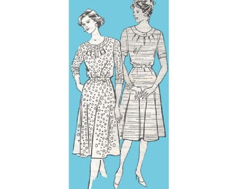 1970s Flared Dress Pattern with Gathered Neckline Size 20.5 Bust 43 Mail Order 4098 Full Figure Vintage Sewing Pattern