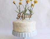 Personalized Yellow Wildflower Cake Topper