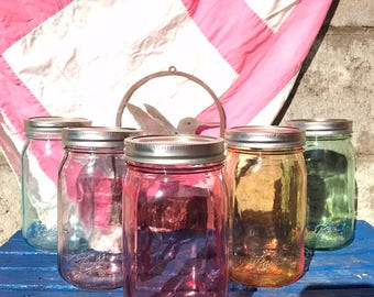 Colored Mason Jars Stained Glass gifts colorful storage DIY jars mason jar storage set of three Blue jar green jar red jar purple home decor