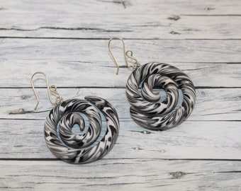 Black and white twisted snake earring