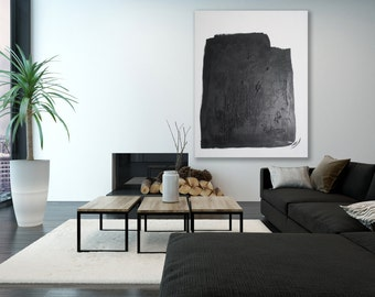 XL Minimalist Painting / Black and White Abstract Art / Modern Art / Contemporary Art / XL Painting / Oversized Painting / Minimalist Art