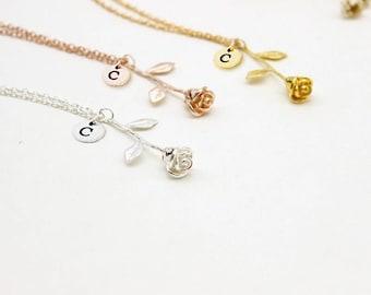 Rose necklaces Initial letter Rose pendants