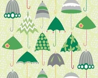 LAST YARD SALE Riley Blake Fabric, Rainy Days and Mondays, Green Retro Umbrellas, 1 yard, C4010-Green