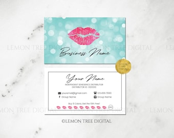 Bokeh|Hot Pink|Mint|LipSense Business Cards|LipSense Business Card|LipSense Cards|Distributor|Square Business Cards