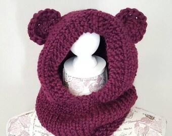 Bear Hood - Purple - Animal Hood - Child Hat