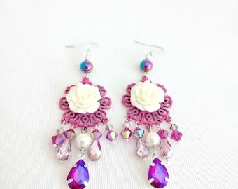 white rose earrings, rose chandelier earrings, shabby rose jewelry, pink, argentium earrings