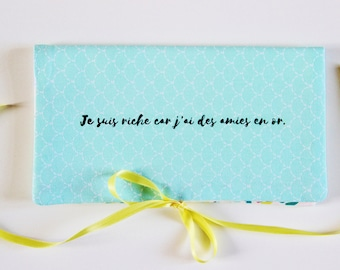Checkbook Cover With Quote, Checkbook Cover, Checkbook Wallet, Checkbook Holder, Checkbook Case, Fabric Checkbook Cover, Inspirational Quote