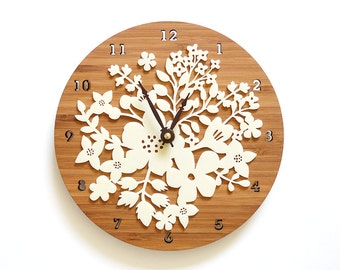 Perfect Gift for Mom Sister Friends Wedding - Flower Wall Decor - Bouquet Clock