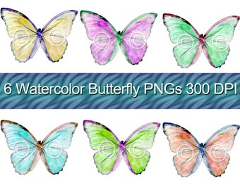Watercolor Butterfly Graphic Images PNG Files Instant Download