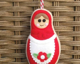 Felt Christmas Russian doll/Matryoshka  ornament