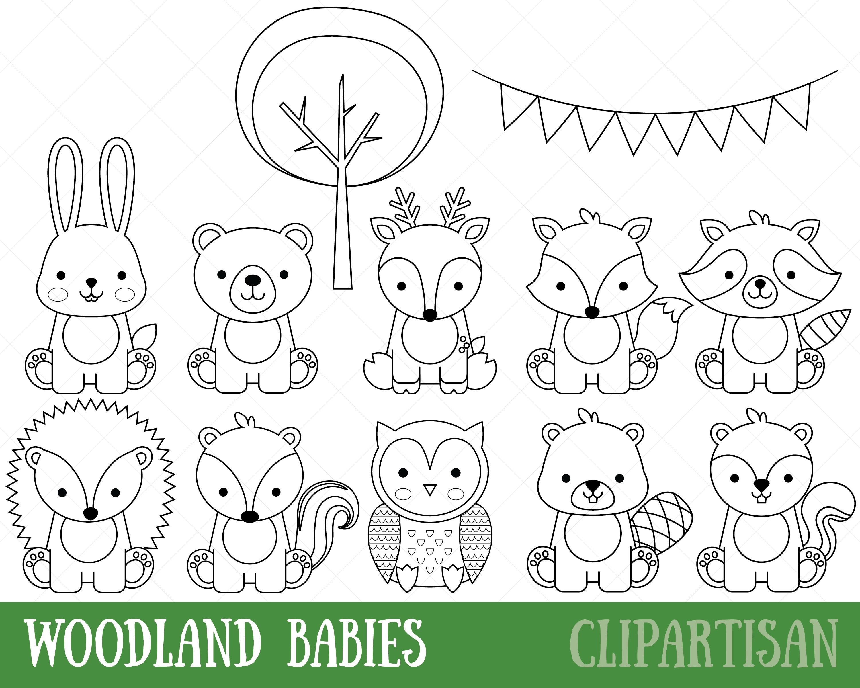 Woodland Animals Digital Stamps