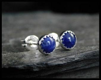 September birthstone earrings - Natural blue jeans sodalite earrings, 5mm, in a sterling silver bezel setting. Studs. Ready to ship. 235