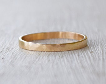 Yellow Gold Band, 14 Karat Gold, Wedding Band, Couples Ring, Commitment Ring, Gold Stacking Ring, Mothers Day Gift, Hammered Gold Band