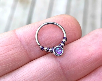 Purple Opal Daith Earring Rook Piercing Hoop