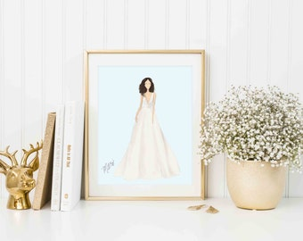 Bridal Gown Illustration, Custom Wedding Dress Drawing, Bridal Gown Design, Wedding Dress Illustration, Personalized Wedding, Bridal Art