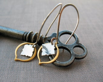 Mixed Metal Earrings, Gold and Silver, Star Burst Earrings, Everyday Earrings, Dangle Earrings, Sterling Silver, Gold Earrings, Lightweight