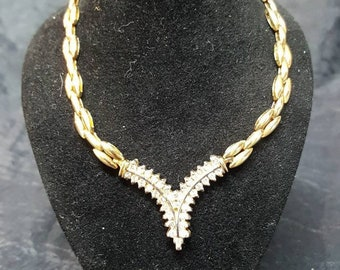 Diamond and 14kt Gold link necklace