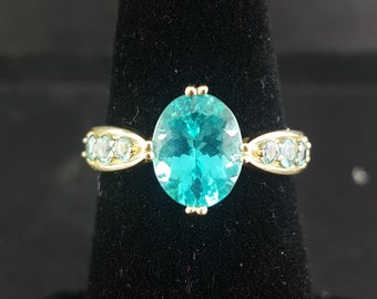 Aquamarine 14K Gold Engagement Ring with Diamonds size 7