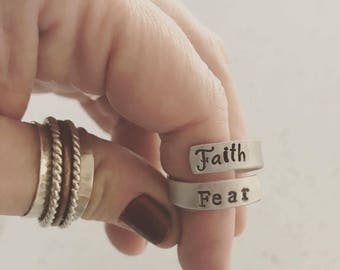 Faith Over Fear Adjustable STERLING Wrap Ring -Twist Ring - Christian Gift - Bible Jewelry - Scripture Ring - Religious Jewelry - Graduation