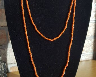 Vintage long red coral chip necklace