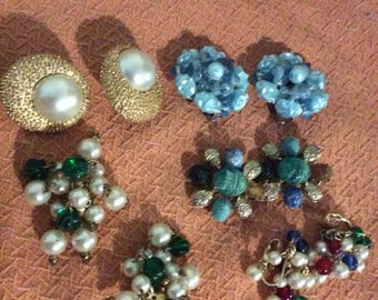 Lot of 5 Clip-On Ear Ring Sets /Beaded/Trafari/Costume Jewelry