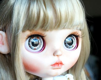 Eye Chips for Neo Blythe Doll Custom - Gray Brown Metallic Paints Hand painted Realistic Eyechips - FREE Shipping