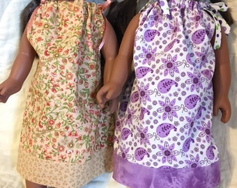 Handmade Set of 2 Pillow Case Style Dresses for American Girl or Other 18 Inch Doll - Great Birthday Gift - Little Girl Gift