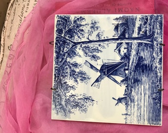 Vintage  1971 Decorative Tile Blue and White Wind Mill Pattern