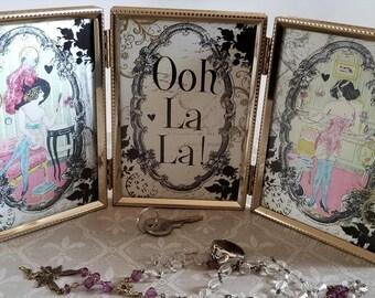 Ooh La La French Mademoiselles Framed Decorative Tabletop Vanity Decoupage Folding Frame