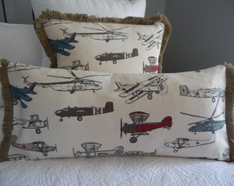 3 colors to choose from. Vintage Aircraft Print Pillow Cover.FRINGE.AIRCRAFT Pillow Cover.Son.Grandfather.Pillow Cover.Slip Cover.Planes