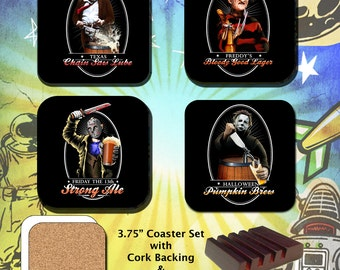 Horror Movie Characters / Friday the 13th  / Halloween / Texas Chainsaw Massacre / A Nightmare on Elm Street / Coaster Set