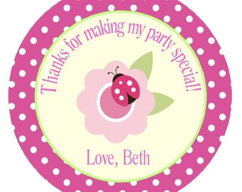 Ladybug Favor Tags or Stickers/ Printable DIY Party Circles/Pink Polka Dot Girls Birthday Party /Matching Items Available