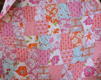 Baby Toddler Children Lap Quilt Blanket Mod Shabby Chic Style Dolce Fabric by Tanya Whelan READY TO SHIP