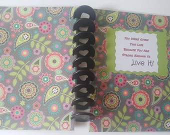 Disc Bound Planner Cover,  Classic Cover size 7.75 x 9.75 inches,  Laminated Cover,  Handmade, Rings do not come with cover